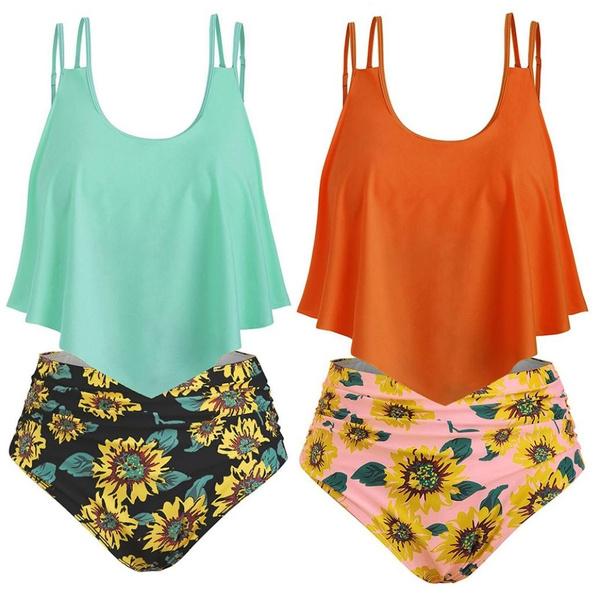 Sunflowers, sexy tankini, women tankini, women swimwear