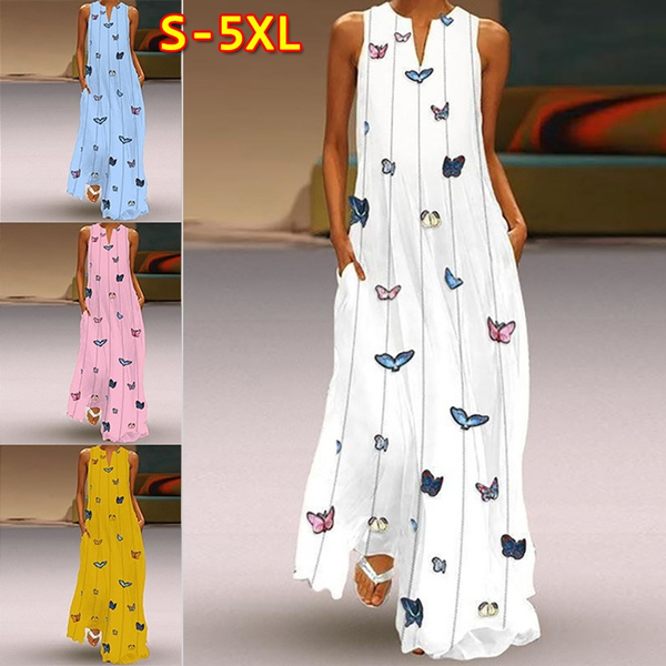 butterfly, Sleeveless dress, Plus Size, chiffon