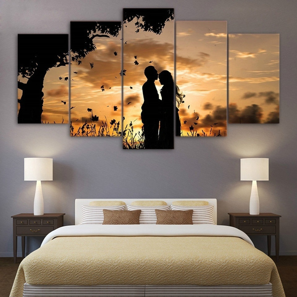Modern Wall Art Canvas Home Painting 5 Panels Abstract Love Kiss And Sunset Wall Paintings Living Room Bedroom Wall Decor Wish