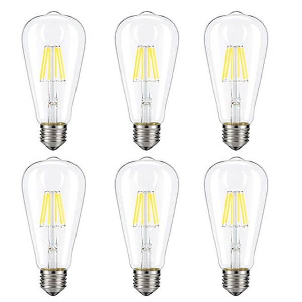 Dimmable Edison LED Bulb ST64 E26 Base for Restaurant,Home,Reading Room 60W Equivalent 6 Pack Daylight White, NOT Soft//Warm White Kohree 6W Vintage LED Filament Light Bulb Daylight White 4000K
