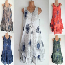 Summer, Plus Size, Necks, Dress