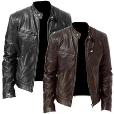 Stand Collar, motorcyclejacket, men coat, Fashion