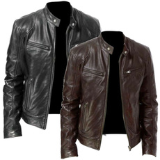 Stand Collar, motorcyclejacket, men coat, Moda