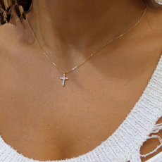 goldplated, clavicle  chain, short necklace, Cross necklace