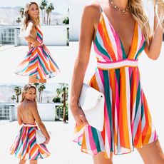 Deep V-Neck, Mini, sundress, Summer