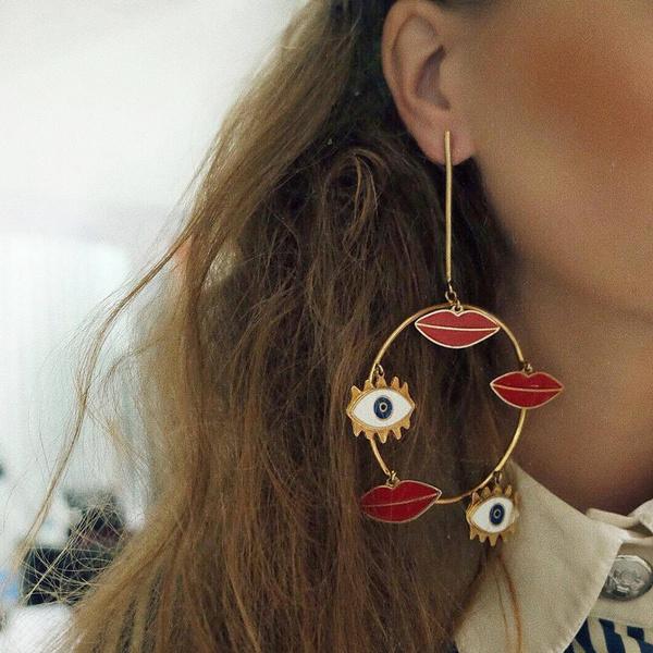 Heart, Fashion, punk earring, gold
