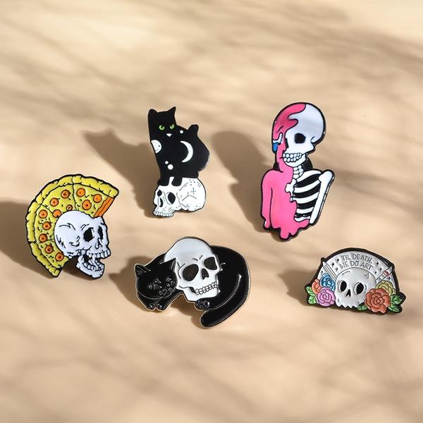 skullpin, Goth, Skeleton, Pins