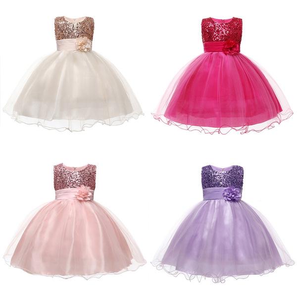 Kids Baby Girls Flower Party Sequins Wedding Bridesmaid Princess Dress Ball Gown