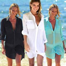 blouse, darkbutton, Shirt, beache