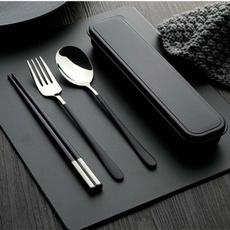 Forks, Steel, stainlesssteelforkspoonchopstickssetfortravel, kitchenutensil