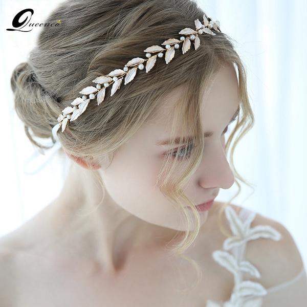 gold, exquisiteweddingaccessorie, Handmade, pearlheadband