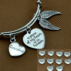 Personalized Jewelry, Heart, memorialbangle, Angel