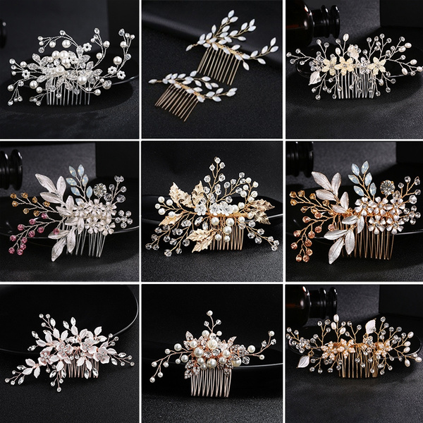 hairpincomb, Flowers, pearls, haircombjewelry
