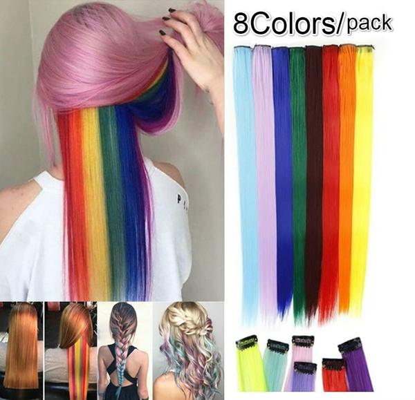 pink, rainbow, Hairpieces, human hair