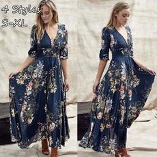 Summer, short sleeve dress, long dress, Dress