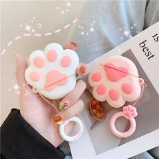 pink, cute, earphonecase, catpaw