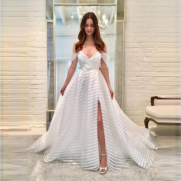 Hot Women Sexy Dress Off Shoulder Stripe Chiffon Dress Elegant Swing Dress  Bridesmaid Wedding Dress | Wish