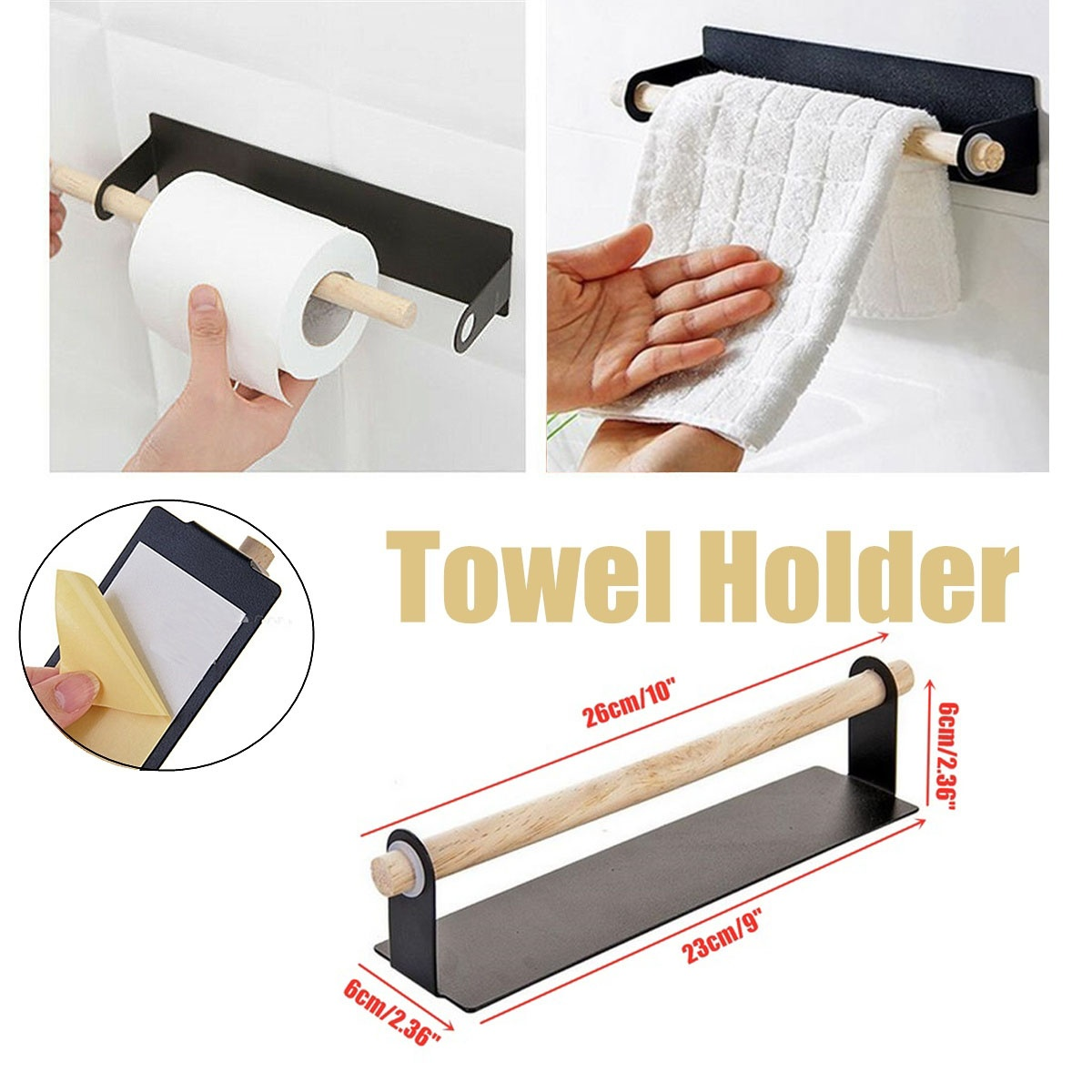 Portable Adhesive Paper Towel Holder Under Cabinet For Kitchen Bathroom Home Y1