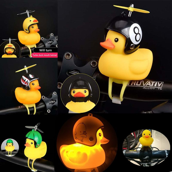 Chilits Rubber Yellow Duck Toy Bike Horn Cute Bicycle Lights Bell Creative Squeeze Duck Bicycle Horn Dashboard Ornament with Propeller Helmet for Adults and Kids for Bike Motorcycle Decoration