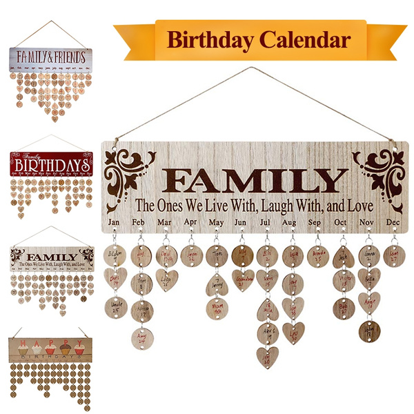 Family Birthday Reminder Board,DIY Hanging Wood Calendar Sign Anniversary Plaque