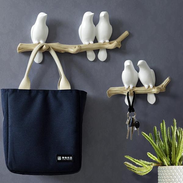 3 Birds On Tree Branch Decor Wall Mount Coat Rack W//Hook For Coat Hats Key Towel