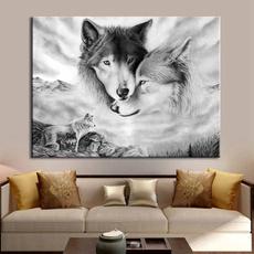 art, Decor, wolfprint, canvaspainting