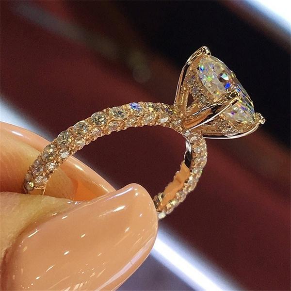 Engagement Bridal Dazzling Round Cut Rose Gold Silver Princess Diamond Ring Size 5 6 7 8 9 10 Wish