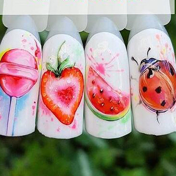 ladybug, art, manicure, Beauty