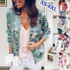 casual coat, zippers, Fashion, floraljacket