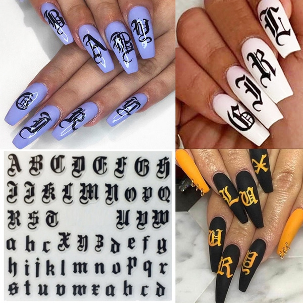 Amazon Com 16 Sheets Holographic Letter Nail Art Sticker Old English Alphabet Nail Decals Character Letter Nail Sticker Letter Gummed Nail Art For Women Girls Beauty