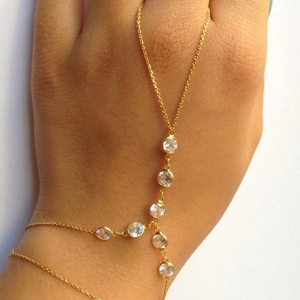 Charm Bracelet, Crystal Bracelet, fingerbracelet, Chain