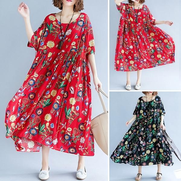 short sleeve dress, Floral print, Sleeve, long dress