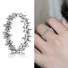 Fashion Jewelry, Flowers, 925 sterling silver, wedding ring