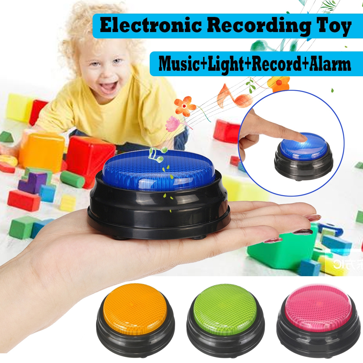 Sound Button Music Sound Buzzer with Light Recordable Talking Button for H7T8
