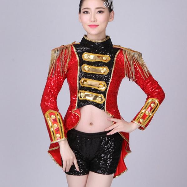 Womens Sequin Tailcoat Tops Shirt Costume Dance Fancy Dress Two Piece Set  Retro