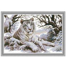 crossstitch, Tiger, art, printed