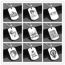 girlpower, armycard, titanium steel, Jewelry
