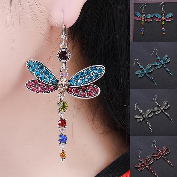 dragon fly, Gemstone Earrings, wedding earrings, Wedding