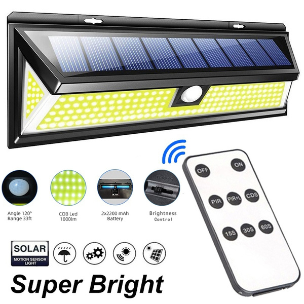 180 118 90 48 Cob Led Solar Light With, Remote Motion Sensor For Outdoor Lights
