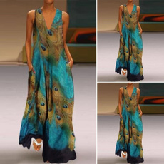 Deep V-Neck, peacock, Fashion, Summer