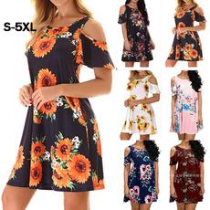 Fashion, Plus Size, Floral print, short dress