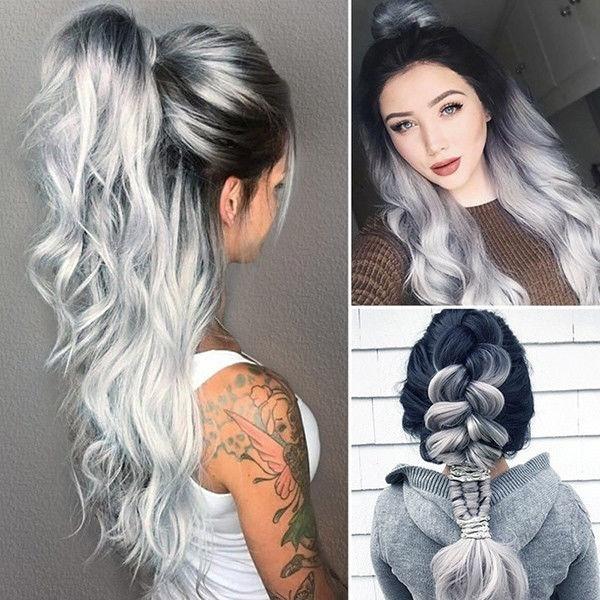 wig, whitegrey, curly wig, badywavewig
