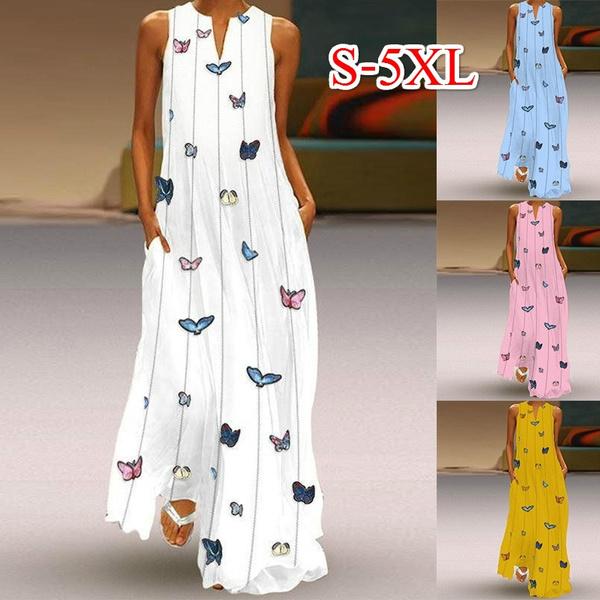 butterfly, Summer, Plus Size, long dress