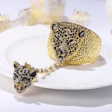 Crystal Bracelet, Animal, gold, Leopard