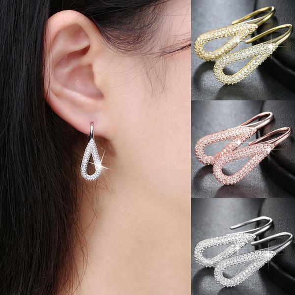 Luxury Natural Diamond Earrings 925 Sterling Silver Wedding Ear Drop Dangle Earrings Unique Gifts Jewelry Wish