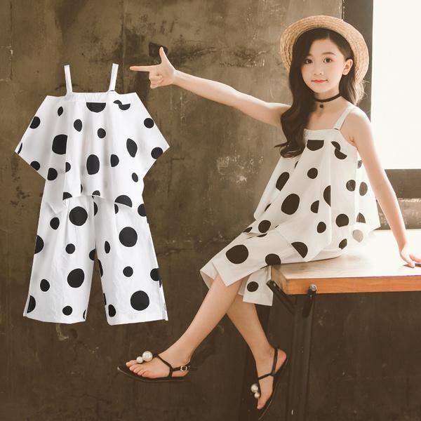 Summer, whitetshirtsloosepant, sleevelesstshirtspants2pcsuit, cottonpullovertopswidelegtrouser