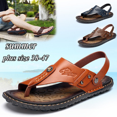 Summer, Plus Size, leather, Slippers