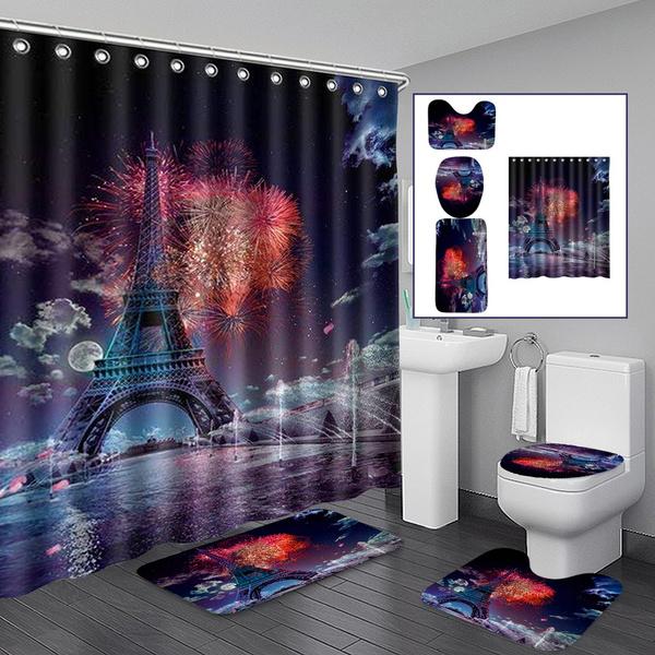 Wonderful France Paris Eiffel Tower Bathroom Set Anti Slip Bathroom Rugs Set Mildew Proof Waterproof Shower Curtain Toilet Cover Mat Wish