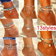 Turtle, Star, Anklets, Chain