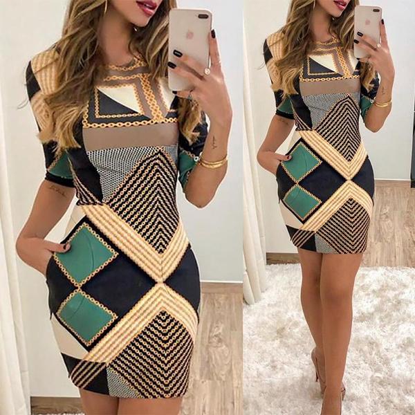 slim dress, Fashion, Print Dresses, Sleeve